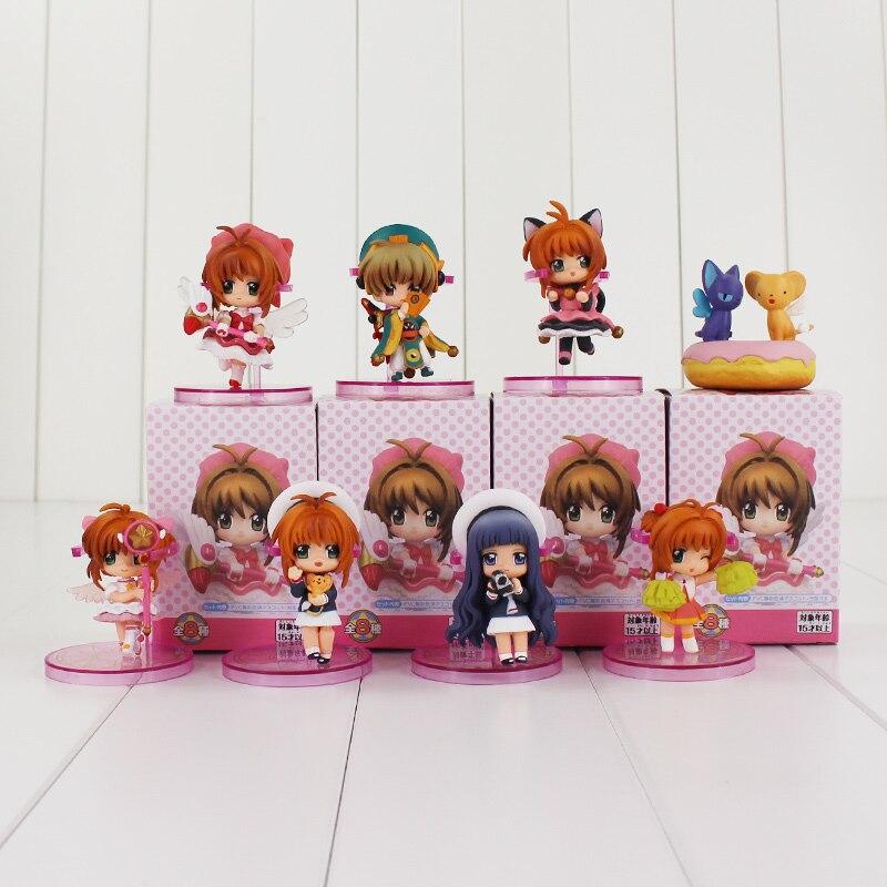 8 unids/lote Sakura Cardcaptor figura de juguete Sakura Kero Li Syaoran Tomoyo Daidouji versión Q modelo muñeca para niñas