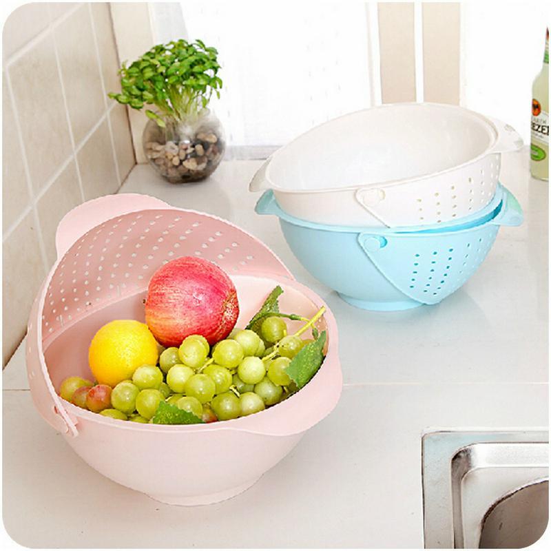 The Candy Color Fruits Vegetables Rice Washing Revolving Basket Drain Basket Water Filter Bowl Multifunction Kitchen Colander