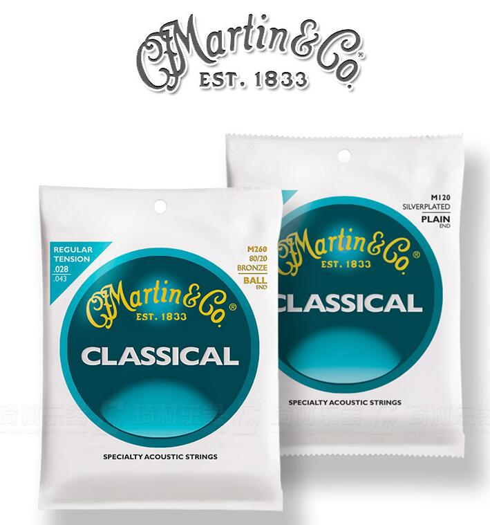 Cuerdas de guitarra clásica de Martin Guitar M120 M160 M220 M260, tensión alta/tensión Regular