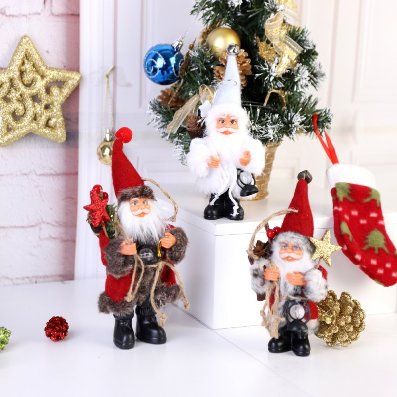 Figura de Navidad de pie de peluche de Santa Claus con lámpara de queroseno, decoración para el hogar, adornos festivos