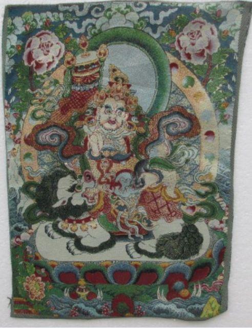 Bordado de lA seda dorada thangka, exorcismo del tíbet y Nepal, paz y riqueza