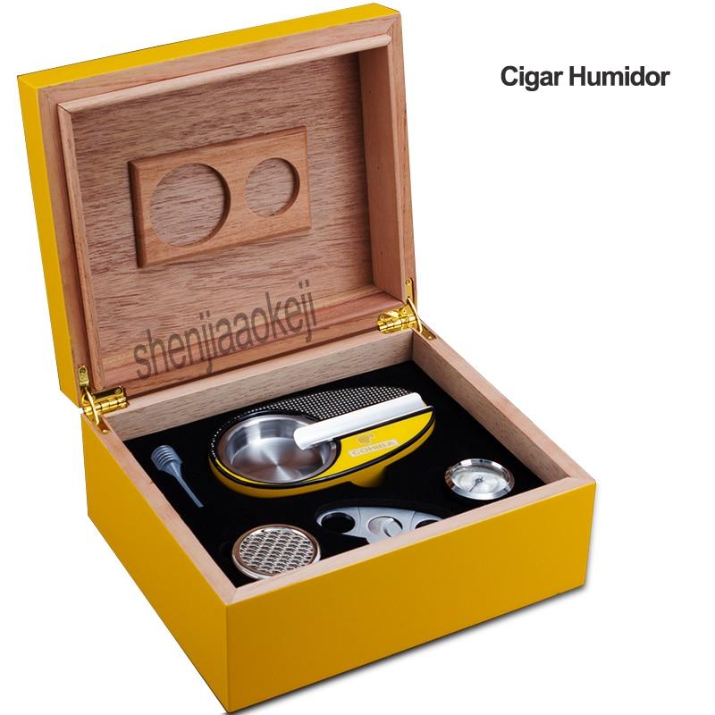 Madera de cedro piano pintura caja de cigarros humidificador Cenicero + cortador de cigarros conjunto de regalo