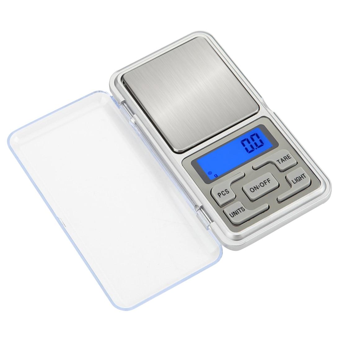 1pc Mini peso digital escalas de bolsillo 0,1/0,01g pantalla LCD con luz de fondo 100-500g de bolsillo joyería gramo peso equilibrio