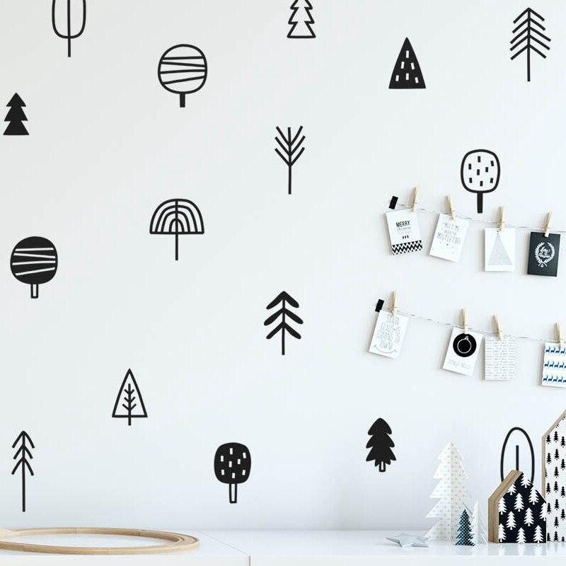 Наклейки на стену из соснового дерева, художественный декор для детской комнаты, виниловые настенные Стикеры для детской спальни, естественное украшение