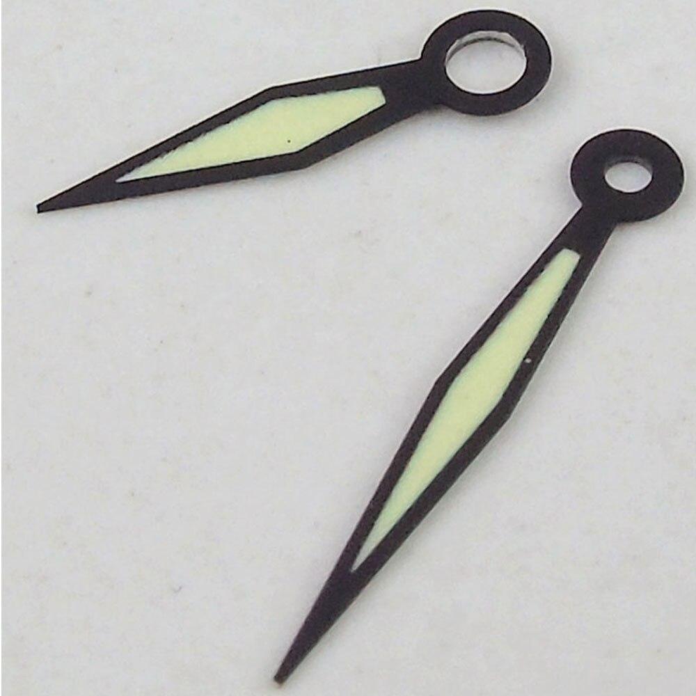 PARNIS, reloj luminoso negro verde, manos, analógico, apto para UNITAS ETA 6497, movimiento 6498, reloj de hombre, manos, piezas de repuesto
