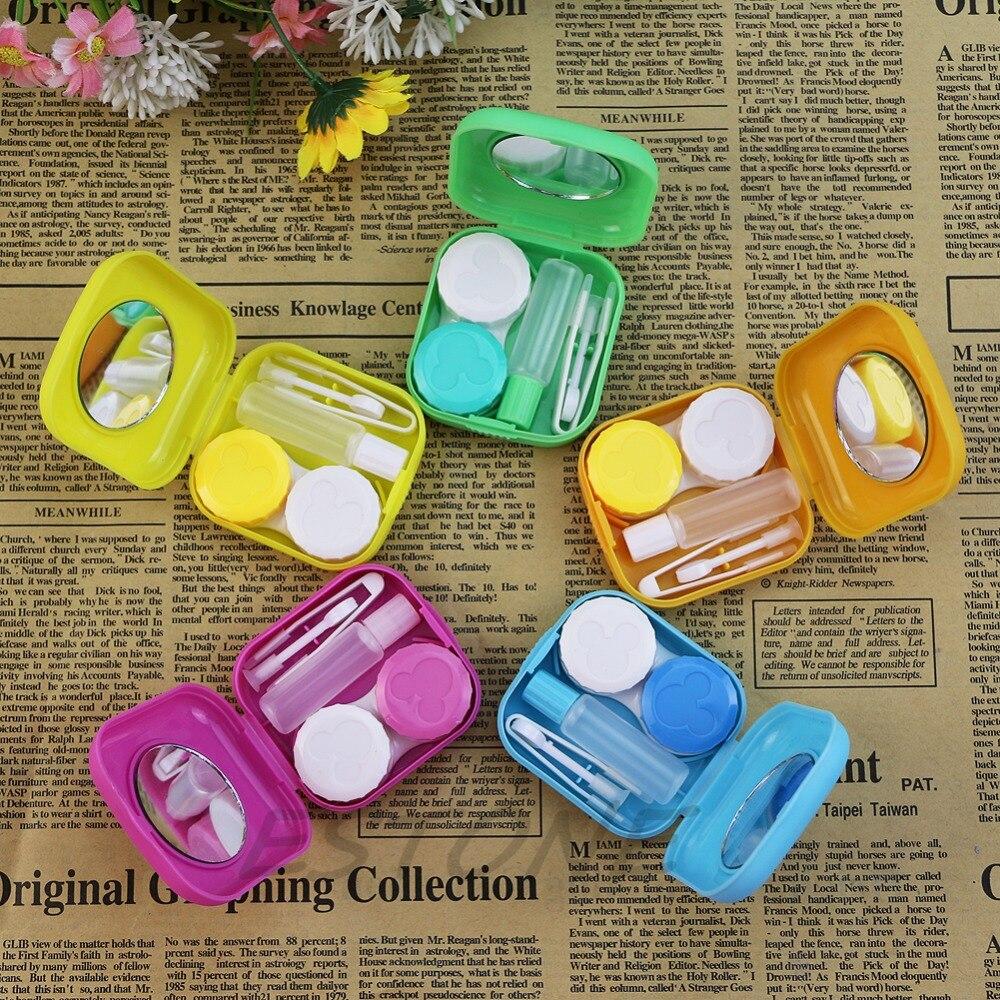 Kit de Mini lentes de contacto de espejo Titulaire caja de almacenamiento Conteneur