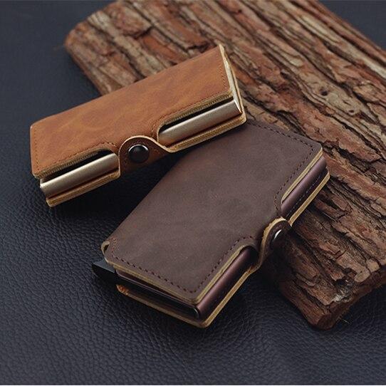 Titular do Cartão de Crédito dos Homens Liga de Alumínio Cartões de Couro Rfid Multifunction Automático Case Mini Carteira Fino Moeda Bolsa