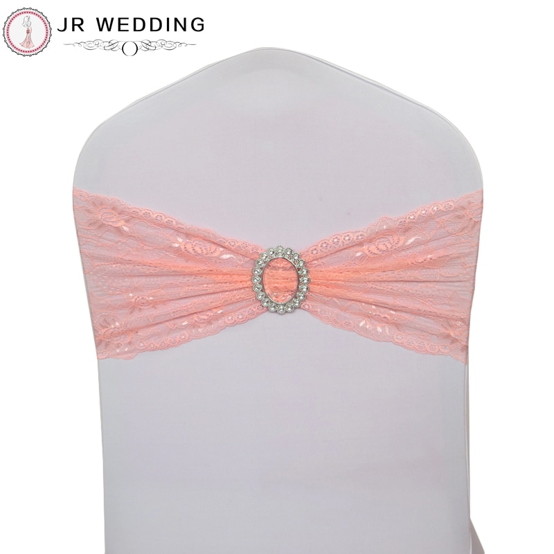 100 pcs الجملة الوردي دنة تمتد الدانتيل غطاء مقعد العصابات الزنانير ل حفل زفاف حدث زينة