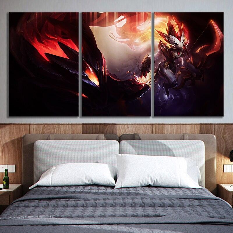 3 paneles Kindred League of Lgends Video juegos arte lienzo pintura HD arte de fantasía LOL juegos pared artística pinturas para la decoración del hogar