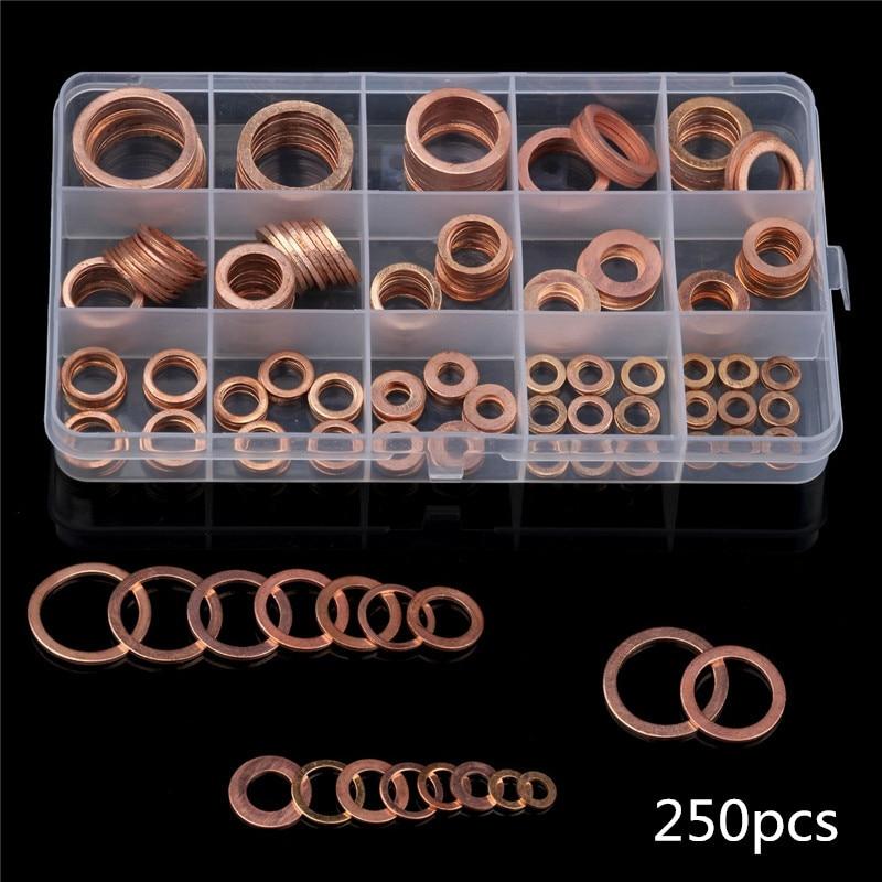 Arandela de lavadora de anillo plano 120/200/M5 250/280 uds/6/8/10/12/14/16/18 espaciador de cobre sólido para sellado de frenos de aceite Kit para Hardware