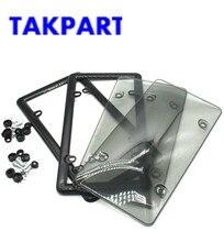 TAKPART 2x couvercle et cadre de plaque   Plaque dimmatriculation fumée teintée gris foncé, pour Auto