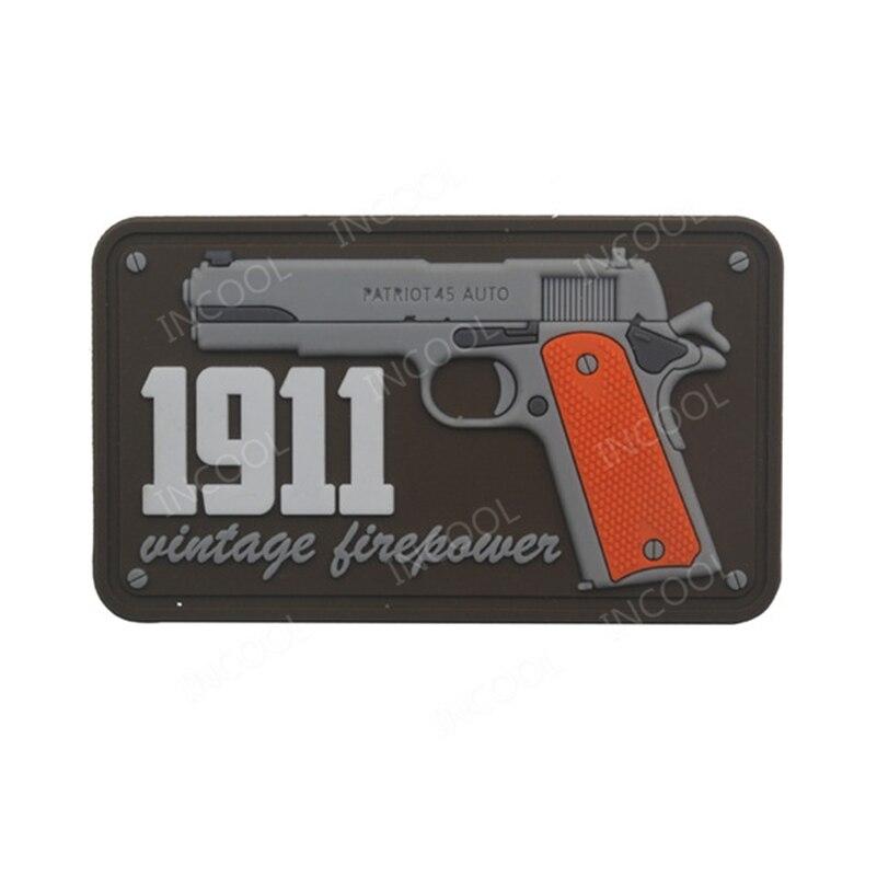 1911 Vintage fuego 3D parche de PVC militar Parche táctico pistola de gancho de motociclista parches para espalda para mochila, ropa tapas
