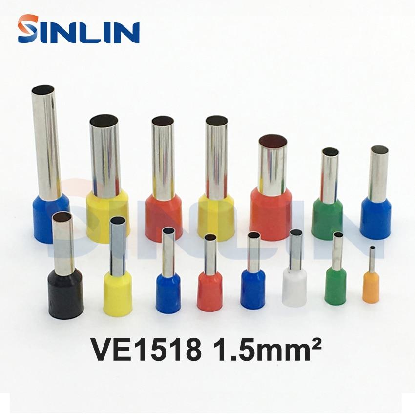 1000 pçs/lote friso terminal ve1518 tubo pré isolante bootlace virolas awg16 1.5mm ^ 2 latão chumbo comprimento 18mm