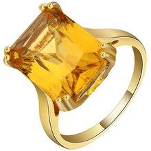 Anillo de circonia cúbica amarilla grande brillante de diseño cuadrado color de oro exquisito anillo de boda personalizado para las mujeres Accesorios