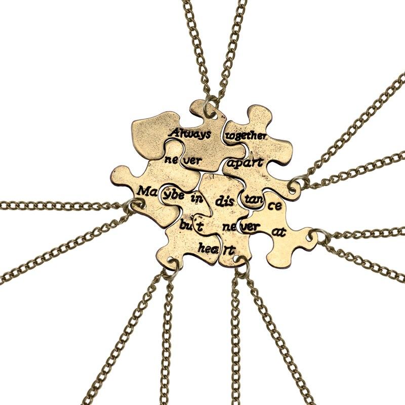 6 шт./компл., винтажная Подвеска для лучших друзей, бронзовая головоломка, неправильная геометрия, ожерелье для женщин, Bff, длинные расстояния, дружба, ювелирные изделия, подарки