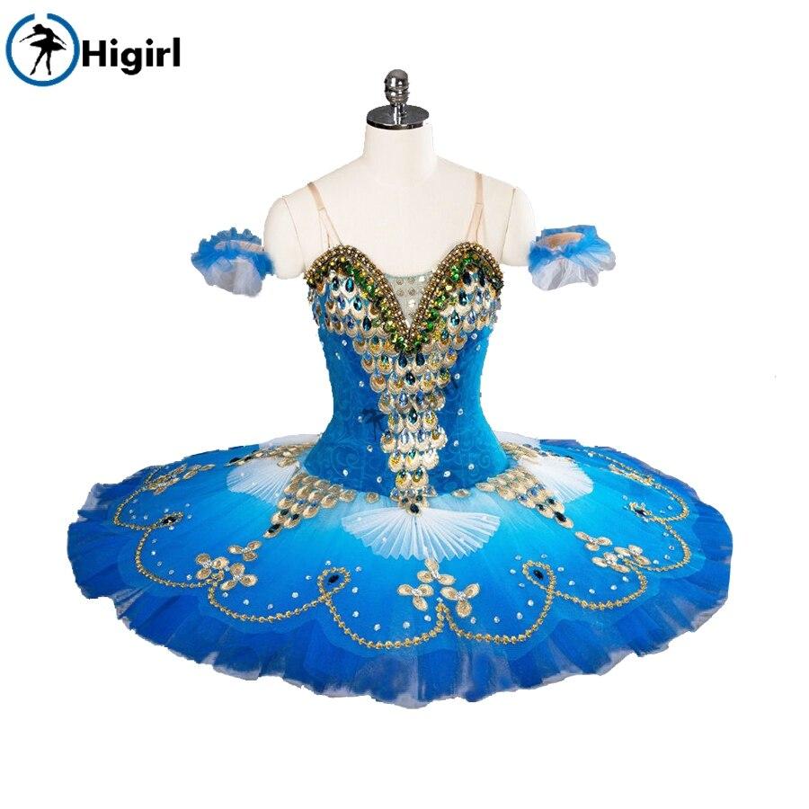 Tutú profesional azul pájaro águila panqueque tutú sparrow ballet tutú actuación ballet trajes tutú costumeBT9105