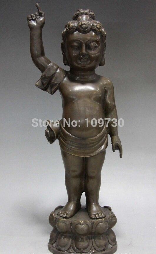 Estatua de Buda Sakyamuni niño budista de cobre de bronce del templo del budismo del Tíbet chino 001480