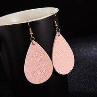 New PU Leather Earrings Bohemian Pink Teardrop Dangle Vintage Artificial Leather Earrings For Women Trendy Earring Jewelry Gifts