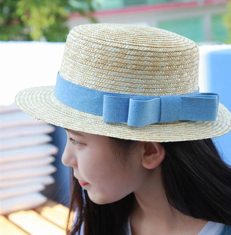 Sping sombreros de verano de mujer, sombrero de fieltro de tela vaquera azul, gorra parasol, gorra plana, sombrero de mujer