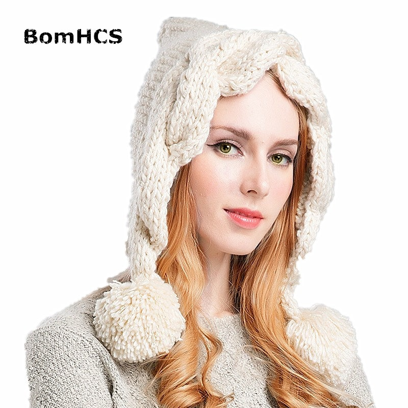 BomHCS mode chaud hiver tricoté oreillette Beanie femmes à la main chanvre fleurs chapeau