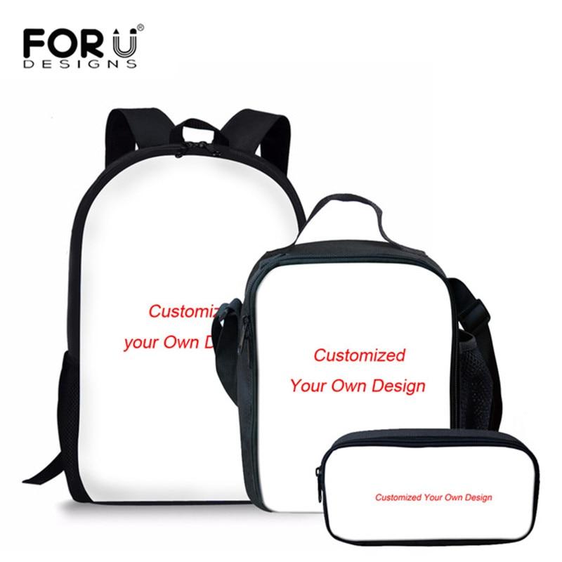 FORUDESIGNS Kids Backpack Girls Customize Image Printing Orthopedic School Bag Set Primary Schoolbag Mochila Bookbag Sac a dos