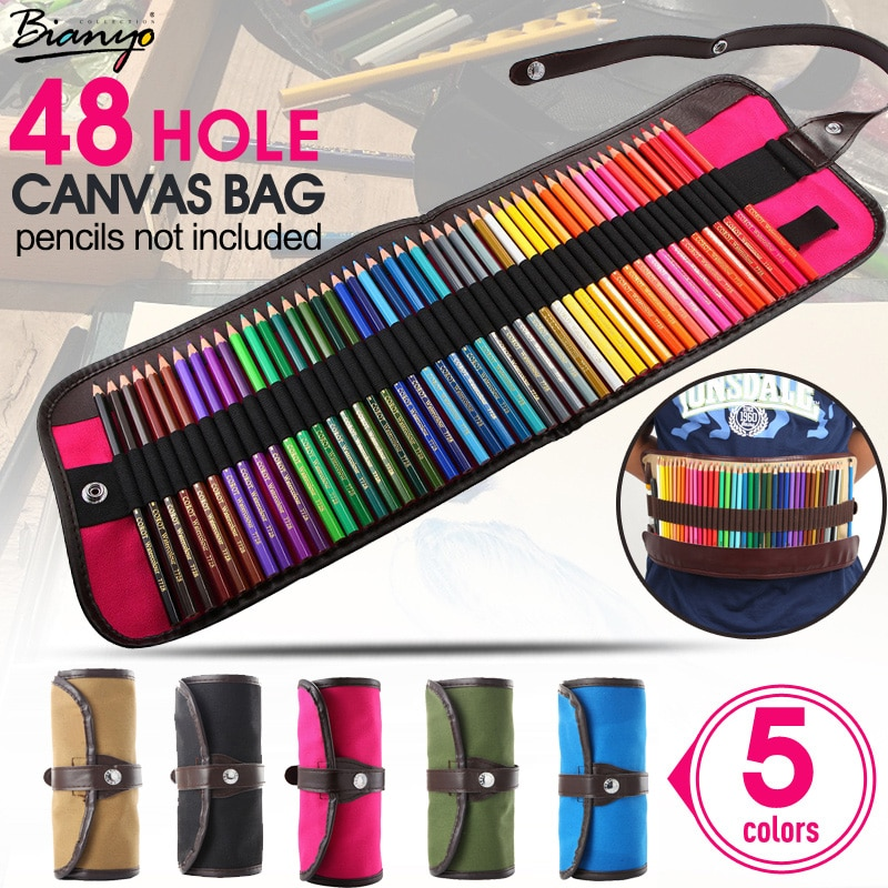 5Color 48 agujeros lona rollo de bolsa de maquillaje brocha para cosméticos pluma de Pecncil caja de lápiz de la escuela, caja Material Escolar suministros de arte