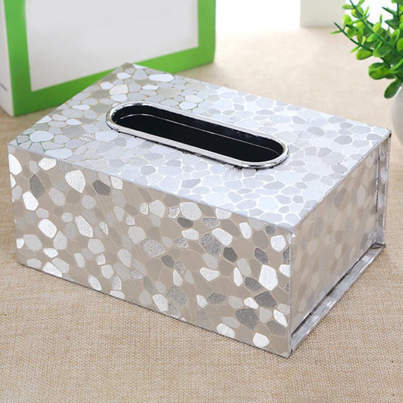 Estante de papel elegante para coche, caja de pañuelos Rectangular para el hogar de moda de cuero PU, contenedor de pañuelos de papel, caja para pañuelos y servilletas