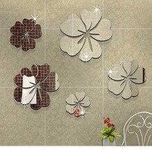 Funlife de nieuwe 5 bloem hibiscus bloem spiegel muursticker verwijderbare decoratieve foto acryl spiegel decoratieve 361004