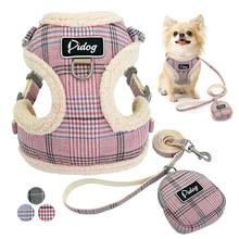 Harnais de harnais doux pour chiens   Gilet sans traction, réglable, Chihuahua, chiot chat, ensemble de laisses pour petits chiens moyens manteau, Arnes Perro