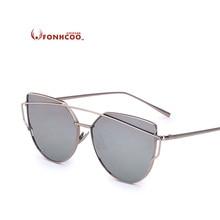 FONHCOO Cat Eye Vintage Sunglasses Women Brand Designer Twin-Beams Shades Female Oversized Coating M