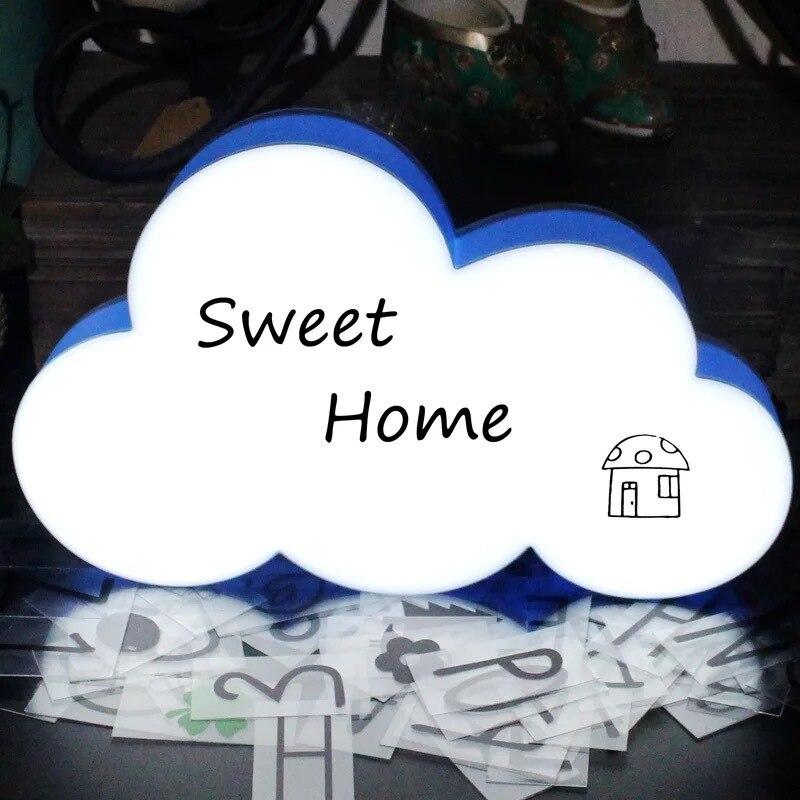 Caja de luz LED DIY para mensajes hechos a mano en la nube, luz de noche de mesa con USB, Red para chicas, ancla roja, diseño de dormitorio, decoración creativa