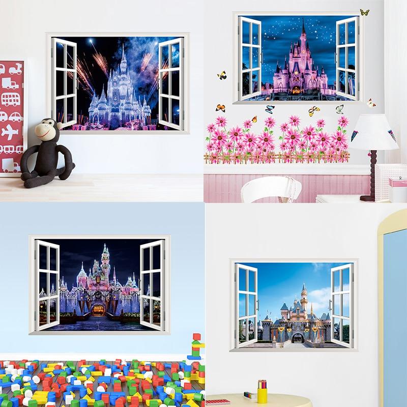 4 estilos más nuevos 3D ventana Vista princesa antigua Castillo hogar pegatinas de pared para niños habitación niñas mural Póster