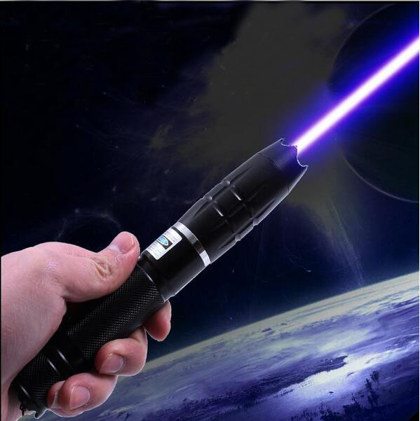 Linterna azul con puntero láser linterna de alta potencia 100000 m Lazer Beam focus papel de quemadura de cigarrillo iluminado de madera de 5 estrellas tapas