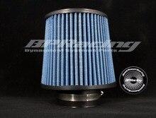 BPRACING-filtre en gaze Inter-cône rond conique   Filtre à Air en gaze de 3 pouces/76mm ID/global haut 6.89 pouces 175mm/universel, bleu