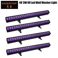 TIPTOP 4xLot High Output Led Blacklight 48x3W Led UV bar Wall Washer Light DMX 8 Channels IP20 Club Lighting
