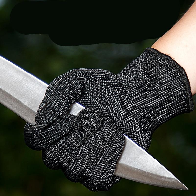 1 paio di guanti da macellaio resistenti all'usura anti-taglio di sicurezza da giardino in filo di acciaio nero guanti in rete metallica autodifesa