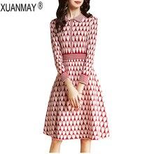 Autumn womens Long style Sweater Streetwear Elegant Long style Sweater dress red jacquard pattern autumn sweater female