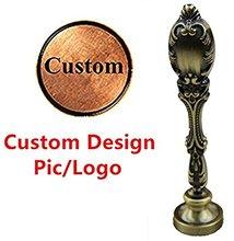 MDLG timbre-tampon de scellage   Vintage, Bronze, Logo image personnalisée, cire, poignée de paon en cuivre, ensemble cadeau