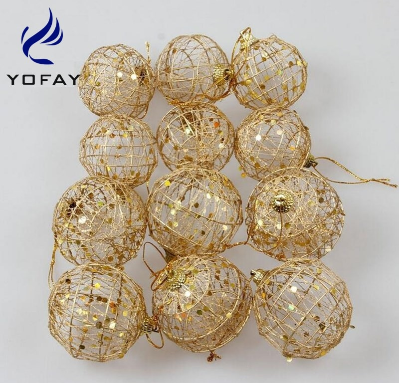 YOFAY Christmas Tree Decor Ball with Glitter Bauble Hanging Xmas Party Ornament decorations for Home Christmas decorations christmas tree decoration ball metal decoration home christmas ornament decoration christmas party party hanging ball ornament