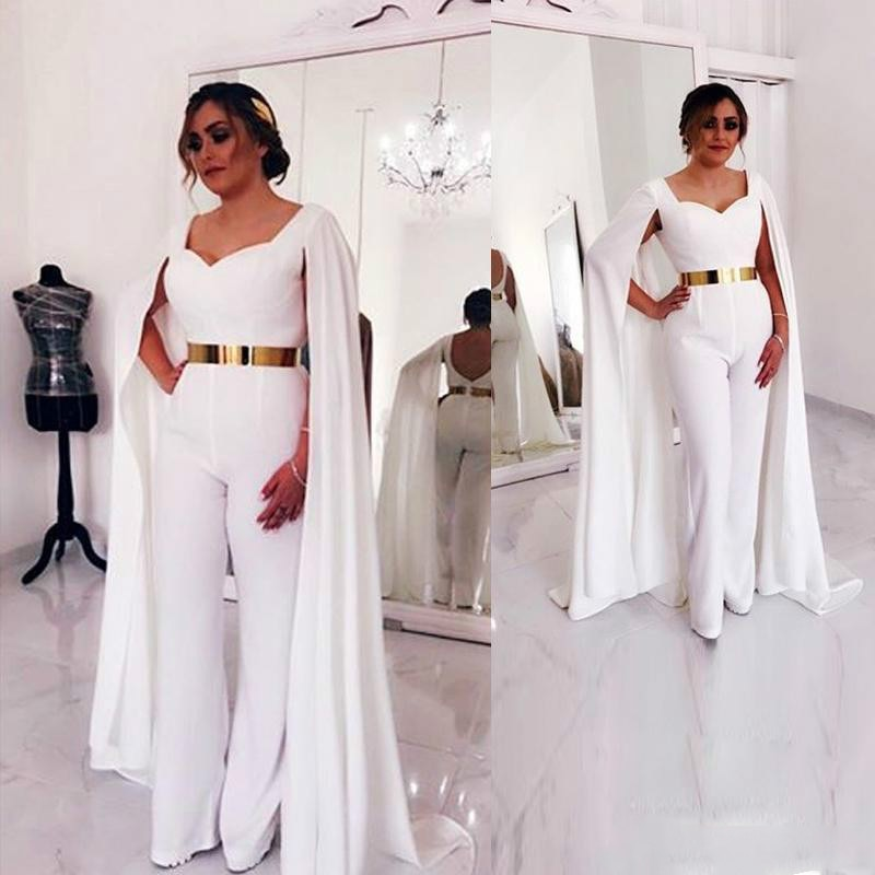 Kaftan Dubai blanco vestidos de noche mono árabe Formal vestidos de noche moda Formal vestido de graduación musulmán bata de soiree 2019