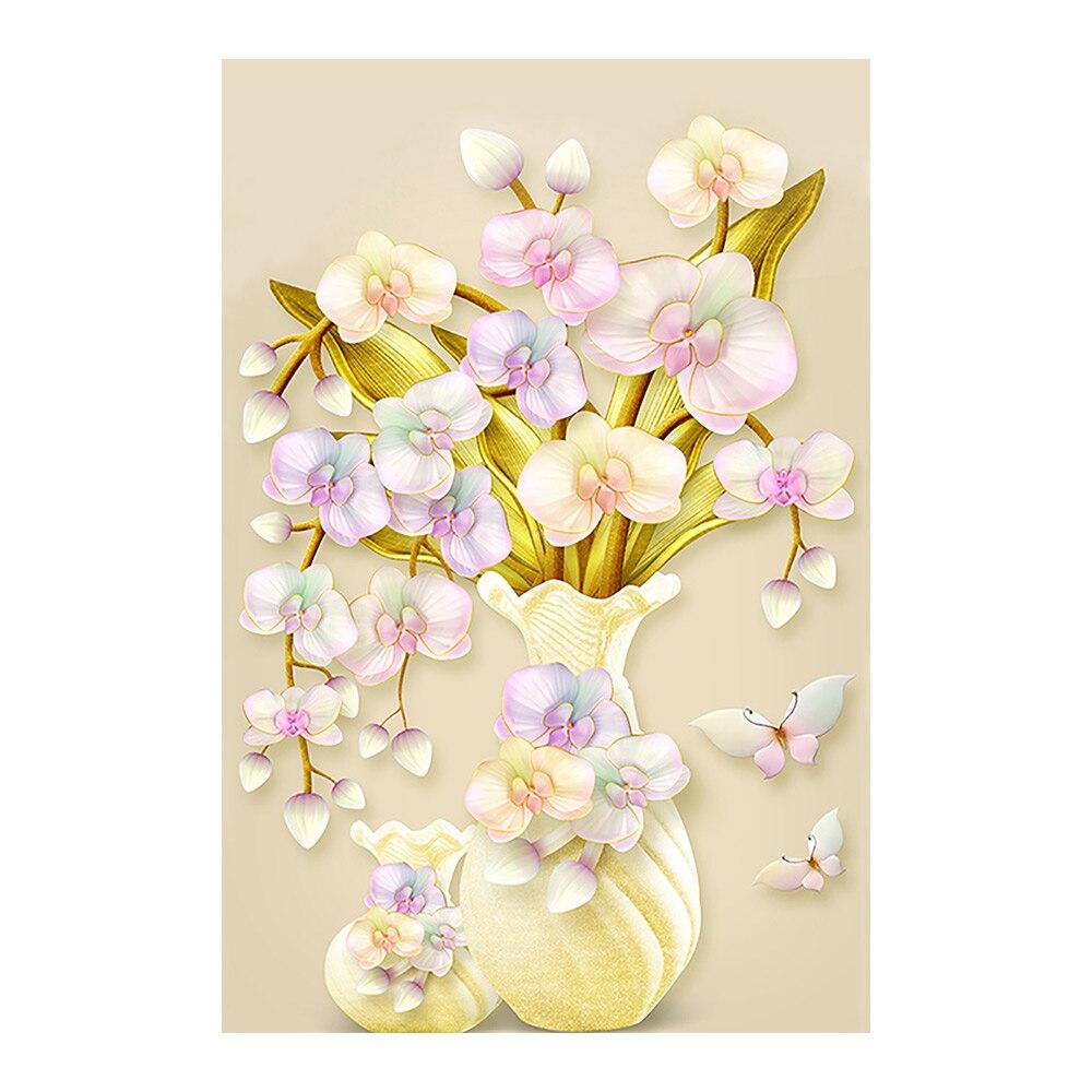 Vase à fleurs dorchidée jaune   Peinture diamant, perceuse complète ronde 5D Nouveaute bricolage, broderie, point de croix, décoration de maison