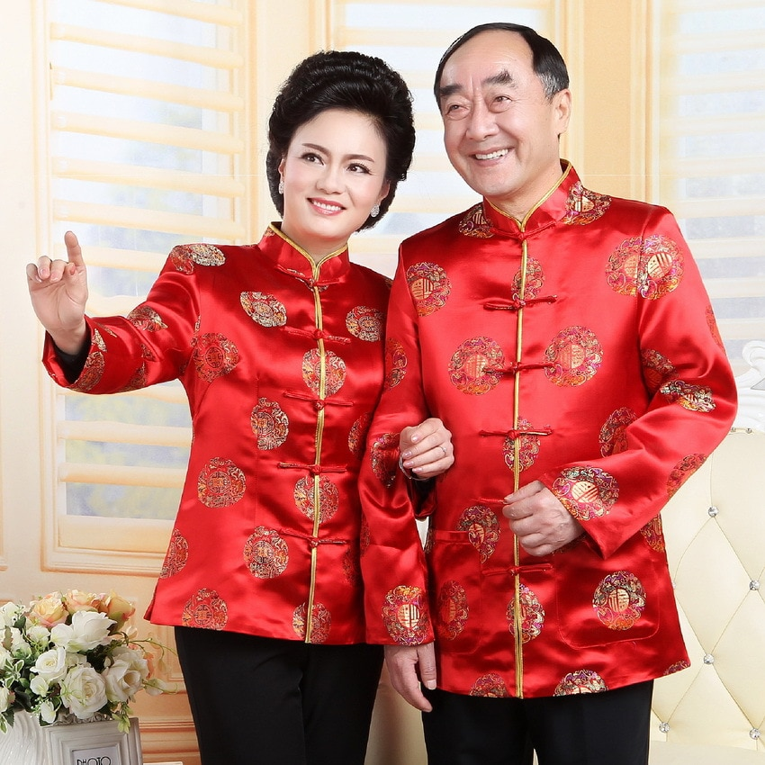 Roupas chinesas tradicionais para mulheres blusa dos homens do vintage china colarinho topos jaqueta de aniversário roupas idosas traje oriental
