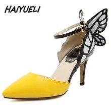HAIYUELI new fashion Dream Butterfly buckle women pumps sexy pointed toe wedding party nightclub hig