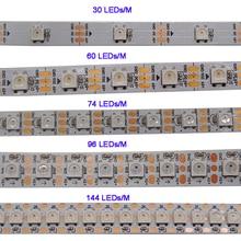 WS2812B 1m/3m/5m 30/60/74/96/100/144 pixels/leds/m bande de pixels led intelligente, WS2812 IC;WS2812B/M,IP30/IP65/IP67, carte PCB noir/blanc, DC5V