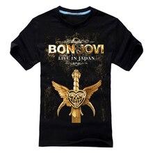 27 designs Bon Jovi Punk Rock Rocker Black white T shirt 3D mma fitness 100%Cotton Heavy Metal print Tshirt XXL men women Sword