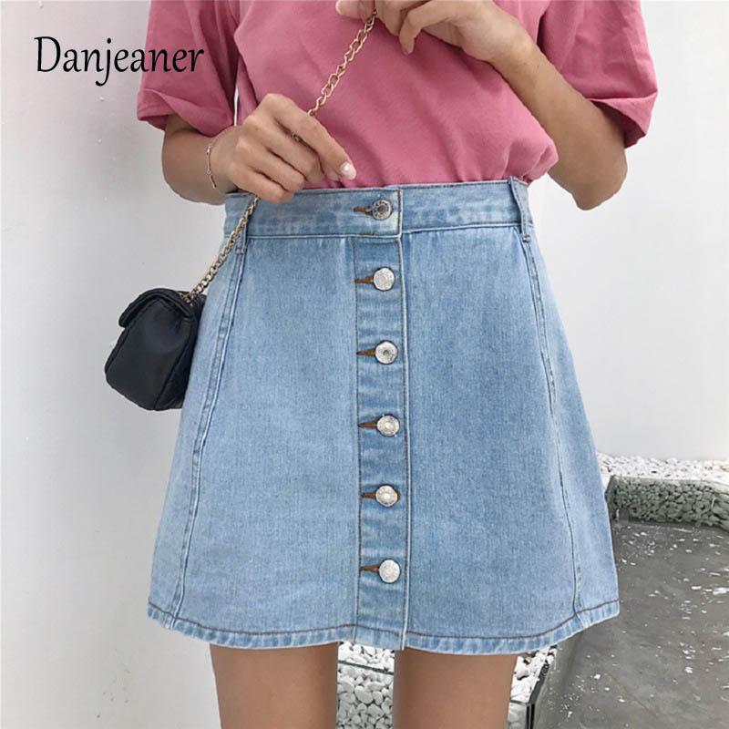 Danjeaner Women Vintage A-line Mini Skirt Denim High Waist Jean Skirt Casual Preppy Style Sexy Slit Safety Pants Jeans Skirts