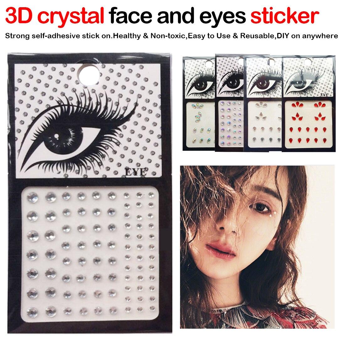 Наклейки на лицо, 1 шт., блестящие, ручной работы, 3D, со стразами, из смолы, для дрели, для глаз, для украшения спереди, временная тату-наклейка
