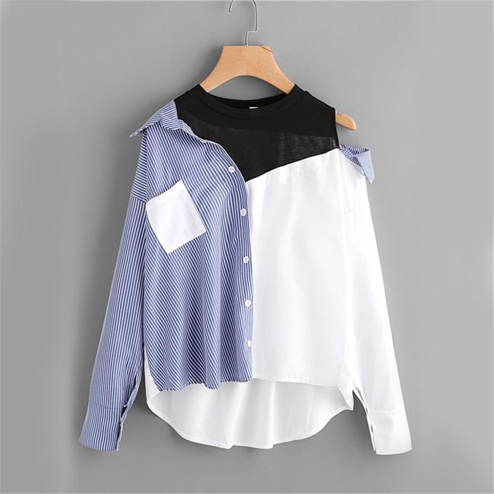 Contrast Patchwork Shirt Blouse Women Asymmetric Open Shoulder Sexy Tops Fall Fashion Striped Casual Dip Hem Shirt