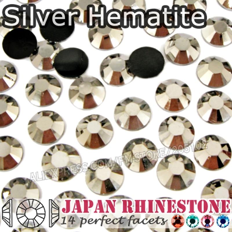 Hematita de plata de diamantes de imitación de cristal SS16 SS20 SS30 resina no Hotfix plana piedras brilla para la caja del teléfono
