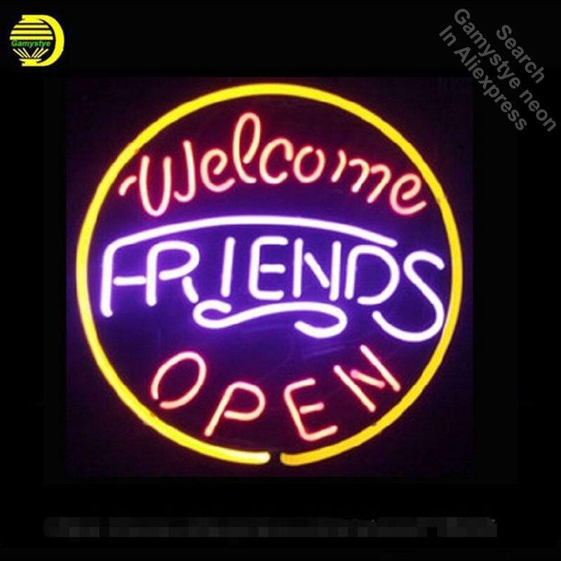 مصباح فلورسنت يدوي فريد ، علامة ترحيب للأصدقاء ، أنبوب زجاجي ، زخرفة غرفة تجارية ، بار ، حانة ، مصباح فني